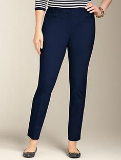 Talbots - Heritage Fit Cotton Bi-Stretch Ankle Pant | Pants | Woman $89.50 (-$25 on sale) navy or black