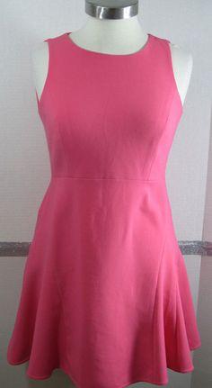 Ann Taylor Loft Dress Petites 2 Fit N Flare Bright Pink Sleeveless Open back Kne #AnnTaylorLOFT #FitNFlareSundress #SummerBeach