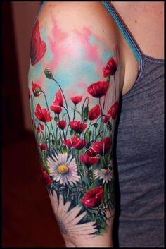Body – Tattoo's – Tattoo-Foto: Mohnblumen… - nice Body – Tattoo's – Tattoo-Foto: Mohnblumen… - Half Sleeve Tattoos Designs, Tattoo Designs And Meanings, Sleeve Tattoos For Women, Daisy Tattoo Designs, Girl Arm Tattoos, Body Art Tattoos, Tatoos, Tattoos Pics, Tribal Tattoos