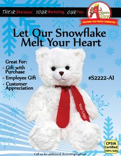 """2013 Limited Edition 15"""" Super Soft Plush Teddy Bear will melt hearts for the holiday season. Add Company logo on t-shirt or scarf."""
