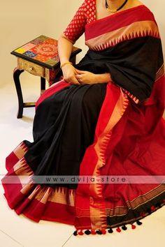 Tangail Soft Cotton Saree by Dvija Black Saree, Black Cotton Saree, Silk Cotton Sarees, Cotton Silk, Black Blouse, Cotton Candy, Silk Saree Blouse Designs, Blouse Patterns, Saree Trends