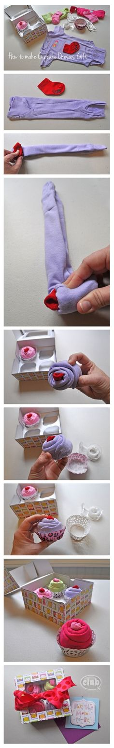 Cupcake onesies baby gift - perfect homemade gift idea. so cute!