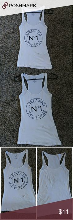 Armani Exchange AX logo circle women tank top Size: S (USED, It has a small broken in the bottom as obseeva in the photo because when I put it to wash I added a few drops of chlorine in that part to remove a stain and because of that it was done that because the fabric is very delicate) Armani Exchange Tops
