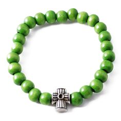 Rave Mens Shamballa Wood Bead Bracelet Green with Silver Cross Charm