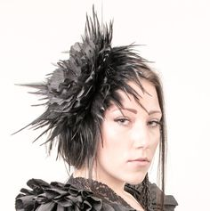 Huge Fascinator black headpiece with feathers and a large black flower Vintage Diva style Millinery hair decoration Tribal fusion fashion