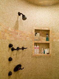 tile shower, recessed shelves