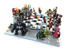 Ultron Marvel Superheroes Chess: Choose your alliance, designate your soldiers, then onward towards victory! Lego Jurassic World, Lego 4, Cool Lego, Lego Thor Ragnarok, Lego Chess, Ultron Marvel, Lego Custom Minifigures, Lego Boards, Basketball Art