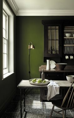 love these dark green paint colours by Little Greene - part of their latest new collection including sage greens, dark greens, pale green and aquas. Click through to see more green paint colour ideas you'll love Olive Green Paints, Sage Green Paint, Green Paint Colors, Room Colors, Dark Colors, Olive Green Walls, Green Wall Color, Dark Green Walls, Color Walls