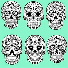 Detailed sugar skulls black and white - Diy Crafts for The Home Sugar Skull Tattoos, Sugar Skull Art, Sugar Skulls, Sugar Skull Design, Tatoo Crane, Day Of The Dead Skull, Candy Skulls, Mexican Skulls, Skull And Bones