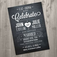 Chalkboard Celebration Wedding Invitation.