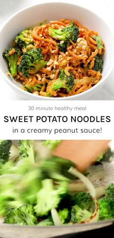 Peanut Sauce Sweet Potato Noodles have creamy and zesty peanut sauce tossed with tender, yet al dente, sweet potato noodles for the best 30 minute meal around that is made in one pot! The 10 simple in Vegan Dinner Recipes, Paleo Dinner, Vegan Dinners, Paleo Recipes, Cooking Recipes, Best Vegan Meals, Simple Healthy Dinner Recipes, Vegan Zoodle Recipes, Low Calorie Vegetarian Recipes