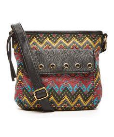 Look at this #zulilyfind! Brown & Yellow Chevron Crossbody Bag #zulilyfinds