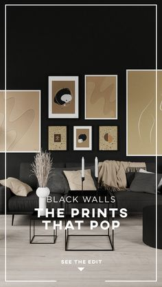 It's dramatic, yet super cozy and elegant. Black walls have an amazing effect on a room and really makes the interior pop! Choose the perfect art for your stylish black walls, and be amazed by how they stand out! Diy Bedroom Decor, Living Room Decor, Diy Home Decor, Living Spaces, Home Interior Design, Modern Interior, Interior Architecture, Black Rooms, Black Walls