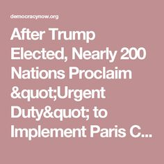 """After Trump Elected, Nearly 200 Nations Proclaim """"Urgent Duty"""" to Implement Paris Climate Accord 