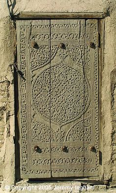 Khiva, Uzbekistan door. beautiful carving ! You can find similar doors imported to Los Angeles. MIXfurniture.com