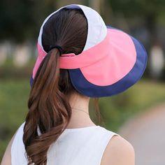0bde64c90361e Summer striped sun visor hat for women casual UV wide brim sun hats