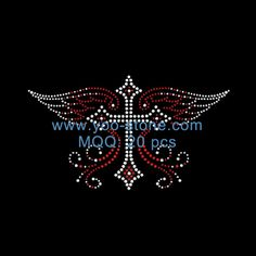 Wings Cross Iron On Rhinestone Transfer For Clothing