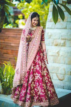 100 Latest Designer Wedding Lehenga Designs for Indian Bride - LooksGud. Pink Bridal Lehenga, Wedding Lehnga, Indian Bridal Lehenga, Indian Bridal Outfits, Indian Bridal Wear, Pink Lehenga, Indian Dresses, Bridal Dresses, Wedding Wear