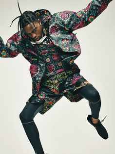 After releasing a couple of attention-grabbing mix tapes, Houston-born rapper Travis Scott debuted his acclaimed album Rodeo late last year. Scott wears a NikeLab x RT jacket ($225), T-shirt ($75), and shorts ($120); nike.com/nikelab. Niketights and sneakers.