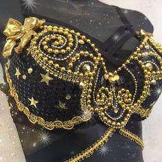b0494e0398854 NYE Black   Gold Stars Bra  New years christmas Rave Wear