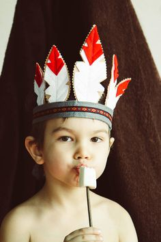 Baby Indian Costume, Indian Costumes, Diy Costumes, Indian Headband, Feather Headband, Feather Crown, Indian Diy, Native American Headdress, Headband Crafts