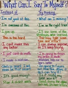 """File this under Growth MIndset tools! This is a wonderful anchor chart. Perhaps one of the few times I might include the """"what not to do"""" when coaching, teaching or modeling! Self-coaching is a great tool to prepare the mind for the journey ahead. Book Study, Anchor Charts, Social Skills, Social Work, Classroom Management, Behavior Management, Stress Management, Elementary Schools, Montessori Elementary"""