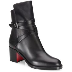 Christian Louboutin Karistrap Leather Block-Heel Booties ($1,155) ❤ liked on Polyvore featuring shoes, boots, ankle booties, apparel & accessories, black, leather booties, black leather ankle booties, leather ankle boots, leather boots and black ankle booties