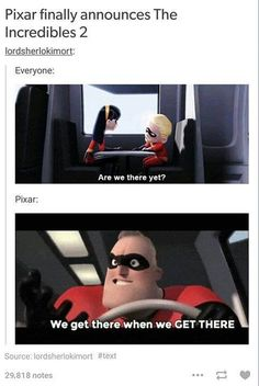 Pixar announcing the Incredibles 2 Disney Pixar, Gif Disney, Disney Memes, Disney And Dreamworks, Disney Love, Disney Magic, Disney Stuff, Toy Story, Funny Memes