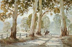 The Drover by Frank Mutsaers Watercolor Landscape, Landscape Paintings, Watercolor Paintings, Landscape Pics, Landscapes, Long Painting, China Painting, Australian Painting, Australian Artists