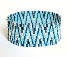 Bead Pattern Only - Navajo Rug Peyote Bracelet Tutorial in two colors