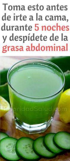 Toma esto antes de irte a la cama, durante 5 noches y despídete de la grasa abdominal. Logra un vientre plano ya.
