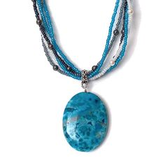 Blue Crazy Lace Agate Necklace blue large 40mm oval by StravaMax, $79.99