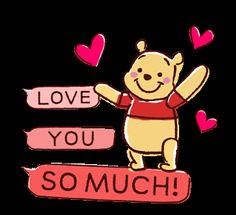 LINE Official Stickers - Animated Winnie the Pooh Speech Balloons Example with GIF Animation Winnie The Pooh Gif, Winne The Pooh, Winnie The Pooh Friends, Love You Gif, Cute Love Gif, Arte Disney, Disney Art, Cartoon Gifs, Cute Cartoon