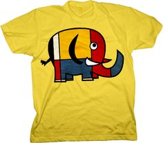 Mondrian Elephant Tshirt by Laughing-Lion-Tees.com, for men, women and children.