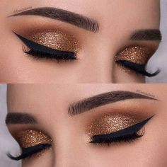 Dark Gold Eye Makeup Look for New Years Eve