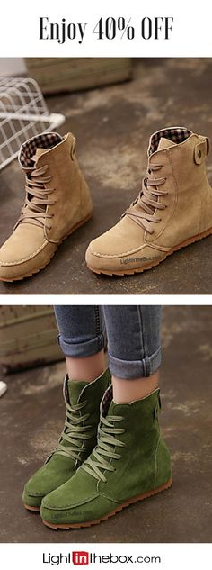 Enjoy 40% OFF on these casual comfortable faux suede lace up women boots! Find theme in khaki green, beige, black and pink colors at just $19.99 - all you need is to click on the picture to see the details.