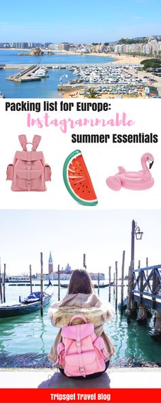 Packing list for Summer in Europe: most instagrammable summer essentials and accessories: from inflatable flamingo to pink leather backpack