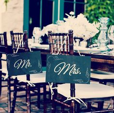 """Bride & Groom Chalkboard Signs 8x10""""   /   Mr and Mrs Chairback or Photo Prop"""