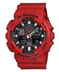 G-Shock Watch, Men's Analog Digital Red Resin Strap GA100B-4