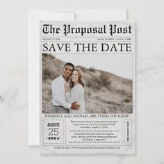 Newspaper Style Fun Save the Date Photo Destination Wedding Save The Dates, Rustic Wedding Save The Dates, Unique Save The Dates, Save The Date Photos, Save The Date Postcards, Save The Date Cards, Save The Date Invitations, Simple Wedding Invitations, Party Invitations