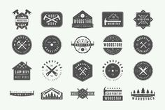 Set of vintage carpentry logos  by AkimD on @creativemarket
