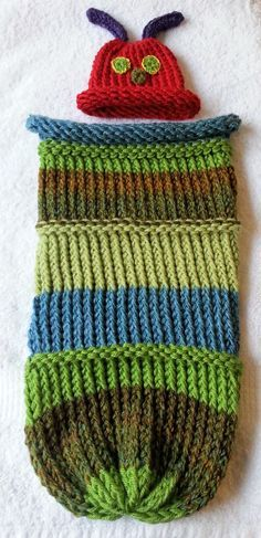 Caterpillar Cocoon and hat (loom knit)                                                                                                                                                     More