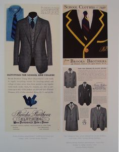 Vintage Brooks Brothers Ad, shows what well dressed college boys and high school boys wore in the 1930s and 1940s