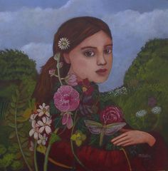 """Meadow Girl"" - a recent painting by Nicola Slattery. It will be included in her ""Human Nature"" exhibition which opens at the Fosse Gallery on 19th April."