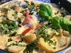 Fiskegryte med snøfrisk og poteter – Henriettes matblogg Potato Salad, Tacos, Food And Drink, Potatoes, Fish, Meat, Chicken, Dinner, Ethnic Recipes