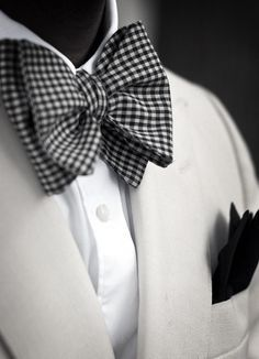 White Linen Tuxedo Jacket, and Black & White Silk Gingham Bow Tie. Men's Spring Summer Fashion.
