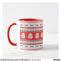 Holiday Stormtrooper & TIE-Figher Stitched Pattern Mug Star Wars Christmas, Christmas Holidays, Star Wars Store, Tie Fighter, Holiday Festival, Clone Wars, Ugly Christmas Sweater, Party Hats