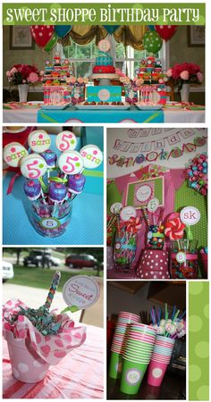 This has the cupcake cake and party game ideas and topiary lollipop tree