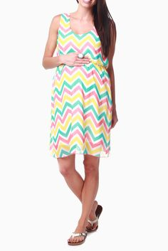Mint-Green-Yellow-Orange-Chevron-Chiffon-Maternity-Dress
