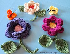 Flowers and Butterflies Crochet Pattern by Teri Crews. Thanks so much for sharing! ¯\_(ツ)_/¯ ☀CQ #crochet #crafts #DIY